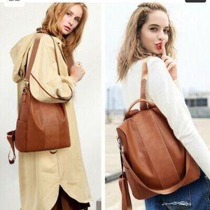 Handbags - Rucksack Leather Pompom Backpack Handbag